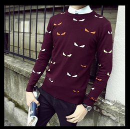 Wholesale Crew Sweaters - Printed Men Sweaters Fashion Cartoon Pattern Sueter Hombre O-neck Jumpers Pullover Sweater Male Knitwear Brand Clothing