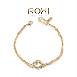 Wholesale Yellow Austrian Bracelet - 015 ROXI Best Gift For Girlfriend Classic Genuine Austrian Crystals Sample Sales Yellow Gold Plated Love Heart Bracelet Jewelry