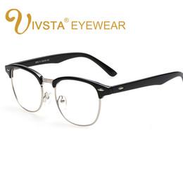 Wholesale Black Yellow Rims - IVSTA Men Glasses transparent Male Half Rim Semi Spectacles Fashion Vintage Retro Style Leopard Frame Plain Glasses Women Flower