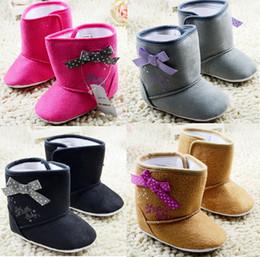 Wholesale Cheap Baby High Top Shoes - Multicolor baby snow shoes!bowknot toddler shoes,high top kids snow boots,0-18 M unisex walking shoes,cheap children shoes.12pairs 24pcs.C
