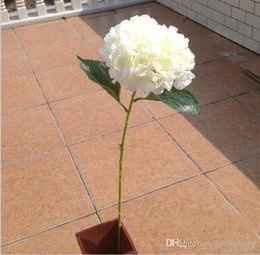 Wholesale Hydrangea Fabric Flowers - European Pastoral Style White Artificial Silk Flower Fabric Hydrangea Bouquet For Wedding Party Decorations 6 Color 2016 New Arrival