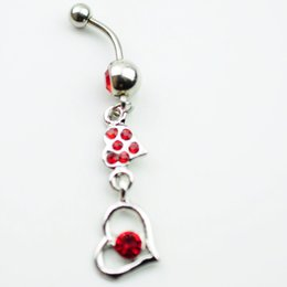 Wholesale Heart Dangle Love Red - D0135 Belly Button Navel Rings Body Piercing Jewelry Dangle Accessories Fashion Charm Love Gift 10Pcs Lot