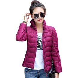 Wholesale Overcoats Dark Blue - Candy Color 2015 Fashion Women Outwear Short Winter Warm Overcoat Stand Collar Cotton Parka Down Coat Jackets Plus Size M-XXXL