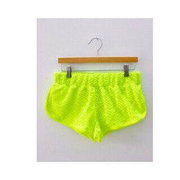 Wholesale Fluorescent Shorts Women - women new 2014 fashion spring summer AA Hollow out solid lace bright fluorescent short pants beach pants