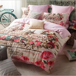 Wholesale King Size Bedding Collections - Popular High-end Satin 4PCS Bedding Suite Paris Oil Painting Streets Bed Linen Queen King Size AB Sides Design Home Collection