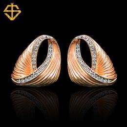 Wholesale Si Rhinestone Jewelry - SI New Listing Wholesale Fashion Jewelry Inlay Rhinestone Dangle Earrings 18K Gold Plated Big Earrings For Women