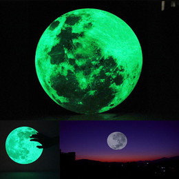 Wholesale Blackboard Vinyl Sticker - 30cm Large Moon Glow in the Dark Luminous Wall Sticker Home Decoration Decor