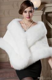 Wholesale Mink Fur Capes - New Faux Mink Fur Bridal Shrug Wrap Cape Thick Luxury Stole Shawl Bolero Jacket Coat For Winter Wedding Bride Bridesmaid Free Shipping WT36