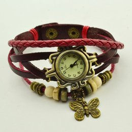 Wholesale Cow Glass Gifts - Wholesale 250pcs lot Butterfly Pendent Cow Leather Watch, Women Quartz Bracelet Watches Gift Watch DHL free Shipping