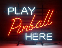 "Wholesale Pinball Light - Play Pinball Here Game Room Neon Sign Light Real Glass Tuble Bar Disco KTV Pub Store Display Neon Light Sign 17""X14"""