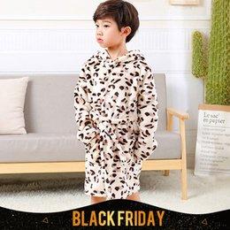 Wholesale Bathrobe Girls - Baby Girls Boys Bathrobe Printed Flannel Nightgowns Children Bathrobe