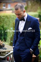 Wholesale Tuxedo Prom Single Button - Hot Sale One Button Blue Groom Tuxedos Peak Lapel Groomsmen Best Man Mens Wedding Suits Prom Suit (Jacket+Pants+Vest+Tie) G980