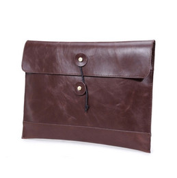 Wholesale Leather Envelopes For Men - Brown Retro Women men Leather Envelope Clutch Rope Large IPAD Bag Sling Female Handbag for A4 Document Profilo Black A006