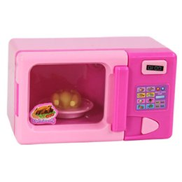Wholesale Electric Microwave Ovens - Wholesale-New Microwave Toy Simulation Pretend Play Mini Electric Appliance Microwave Oven Educational Family Household toy microwave oven