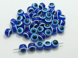 Wholesale Evil Eye Round Beads - 100 Royal Blue Acrylic Kabbalah Evil Eye Ball Round Beads 10mm (3 8