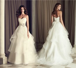 Wholesale Long Princess Sweetheart - 2015 Princess Long Wedding Dresses Ivory Pleated Sweetheart Flower Satin Belt A-line Organza Ruffles Plus Size Bridal Gowns with Court Train