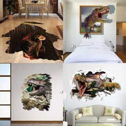 Wholesale Christmas Wall Art Decals - Mixed New 3D dinosaur Wall Stickers Decorative Wall Decal Cartoon Wallpaper Kids Party Decoration Christmas Art Hot Free Shipping