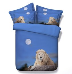 Wholesale Lion King Sheets Full - Lion comforter set 3D Animal bedding duvet cover bed in a bag sheet linen bedspread super king size queen twin quilt double 5pcs bedlinen