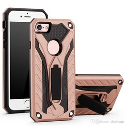 Wholesale Hybrid Cellphone Cases - For iPhone X phone case hybrid armor shockproof cellphone case with kickstand for 7Plus 7 8 Samsung Note8 S8 S7 edge plus