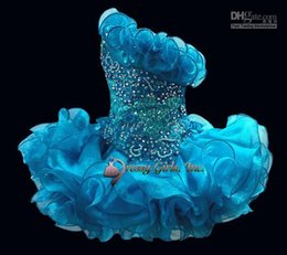 Wholesale Sapphire Blue Ivory - Hot sale sapphire cute cupcake flower girl dress with bead sequins ball gown mini backless little girls pageant dresses HYD26