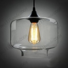 Wholesale Clear Blown Glass Chandelier - Free Shipping Dia 35cm Clear Smoked Candy Jar Glass Chandelier Pendant Lamp 40W Glass Blown Pendant LightS E27 MYY3376A