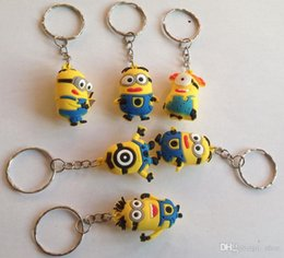 Wholesale Despicable Key Rings - DHL free 600pcs 3.5cm pvc Gifts Keys Chain Key Chains Kids 2015 3D Despicable Me2 Minions Action Figure Keychain Keyring Key Ring 3.5cm