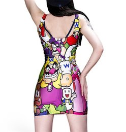 Wholesale Sexy Games Character - Wholesale-New Summer 2015 Women Sexy Print Game Character Muzreunion Dress Vintage Digital Printing Vestidos Femininos Club Casual Dresses