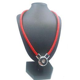 Wholesale Original Necklaces - Original leather New Genuine Leather diy Snap Button Charm Magnetic Clasp Pendant Necklace For women men Fit 18mm button