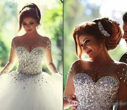 Wholesale Heavy Sequin Lace - Luxury Arabic Dubai Style Wedding Dresses With Sheer Long Sleeve Heavy Crystals Pearls Beaded Custom Made Women Bridal Ball Gown 2015 New