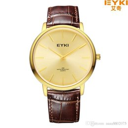 Wholesale Eyki Watches Overfly - EYKI OVERFLY Luxury Brand Genuine Leather Strap Display Men's Quartz Watch Casual Watch Men Wristwatch relogio masculino
