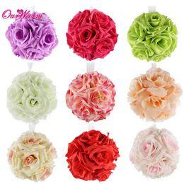 Wholesale Silk Wedding Flower Balls - 30pcs lot Many colors Becautiful Artificial Silk Flower Rose Balls Wedding Centerpiece Pomander Bouquet Party Decorations Hot sale