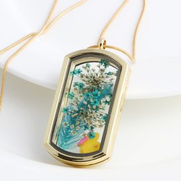 Wholesale New Floating Flower - New Water Proof Transparent glass floating lockets stainless steel twist glass living memory charm locket Gold silver pendants necklaces