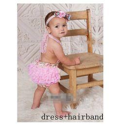 Wholesale Bohemian Jumpsuits - 10%OFF 2015 hot sale baby girl Lace Jumpsuits Princess Dress,tutu dress,lace dress,children kids clothing,3pcs dress+3pcs hairband,6pcs lot