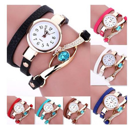 Wholesale Wholesale Wrist Wrap Watches - 2017 Relojes Mujer Weave Braided Winding Wrap Around Leather Bracelet Wrist Watches Women''s Fashion Luxury Jewelery Crystal Inlaid Quartz C