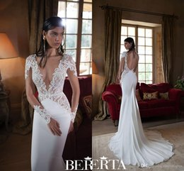 Wholesale Bridal Dress Belt Ivory - 2016 Berta Wedding Dresses Lace Sexy Plunging V Neck Long Sleeves Appliques Illusion Bodice Backless Bow Belt Formal Mermaid Bridal Gowns