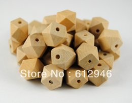 Wholesale Wooden Beads Wholesale Free Shipping - Wholesale-Free shipping! 50pcs lot 12mm natural unfinished 14 Hedron geometric wood beads jewelry  DIY wooden necklace WB01
