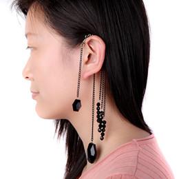 Wholesale Ear Cuff Earrings Gems - Fashion Pendientes Brincos Acrylic Vintage Tassel Hook Clip Big Earrings for Women Black Gem Bead Ear Cuff LYE170 order<$18no track