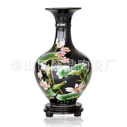Wholesale Enamel Ceramic Vase - Jingdezhen Ceramic Crafts Ugyen pastel enamel lotus reward bottle vase wholesale high-end home furnishings Decoration