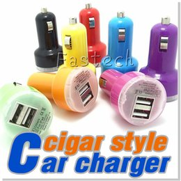 Wholesale Flash Blackberry Phone - Colorful Mini Car Charger USB 2 Port Cigarette 2.1A Chargers Micro Dual USB Adapter Flash Nipple Dual USB Port for Phone & Pad