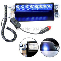 Wholesale High Power Blue Strobe Light - Wholesale-Emergency Vehicle Sucker Warning Light Strobe light Flash 8 LED Light Firemen Fog High Power Red&Blue,full red blue,drop shipping