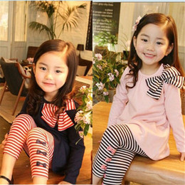 Wholesale Children Korean Dresses - girls stripe outfit long sleeve dress leggings girls set stripe korean girls bow suit autumn clothing children bow suits free shipping