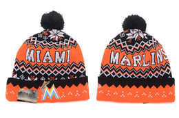 Wholesale Florida Gifts - NEW HOT Sport KNIT FLORIDA MARLINS Baseball Club Beanies Team Hat Winter Caps Popular Beanie Wholesale Christmas Gift Present