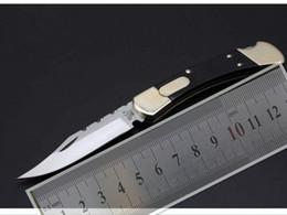 Wholesale Buck Pocket - Buck 110 back lock ( classic pattern ) Sand Blasted Blade Fire Pattern Yellow Steel Polyester Handle Folding Pocket Knife Camping Knives