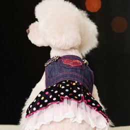 Wholesale Dog Jeans Skirt - Wholesale-HOT SALES NEW Cute Pet Dog Clothes Clothing Jeans Denim Lace Heart Dress Princess Skirt Free &Drop Shipping