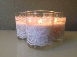 Wholesale Cheap Candle Decorations - 2015 Wedding Supplies Candle Glasses Covers Lace Cheap Custom Party Decorations