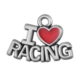 Wholesale Racing Charms - Free shipping New Fashion Easy to diy 20pcs a lot I Love Racing sporty message Charm jewelry making fit for necklace or bracelet