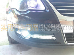 Wholesale Vw Passat Lamp - NEW arrival VW Passat B6 led drl daytime running light front fog lamp Osram chip with wireless control top quality fast shipping