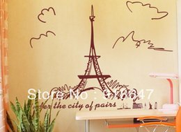 Wholesale Large Wall Decals Cheap - Wholesale Cheap New Large Popular DIY Home Decoration Eiffel Tower Wall Sticker Wall Paster Wall Decal 60x90cm 5pcs lot