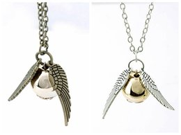 Wholesale Bronze Jewelry Links - HP necklace snitch silver bronze angel wing pendant necklace women men Jewelry Vintage Quidditch necklace free shipping