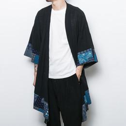 cardigan chal hombres Rebajas Al por mayor-China Style Men Cotton Cotton Cardigan Coat Trench Jacket Hombre Chal flojo largo Kimono Cazadora Outwear